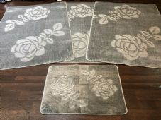 ROMANY GYPSY WASHABLE ROSE FULL SET OF 4 MATS X LARGE 100X140CM SILVER-GREY